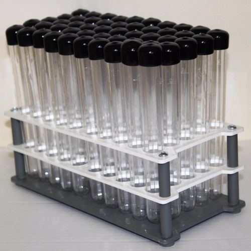 25 ml Clear Tubes with Black Caps and Tray (Set of 50)