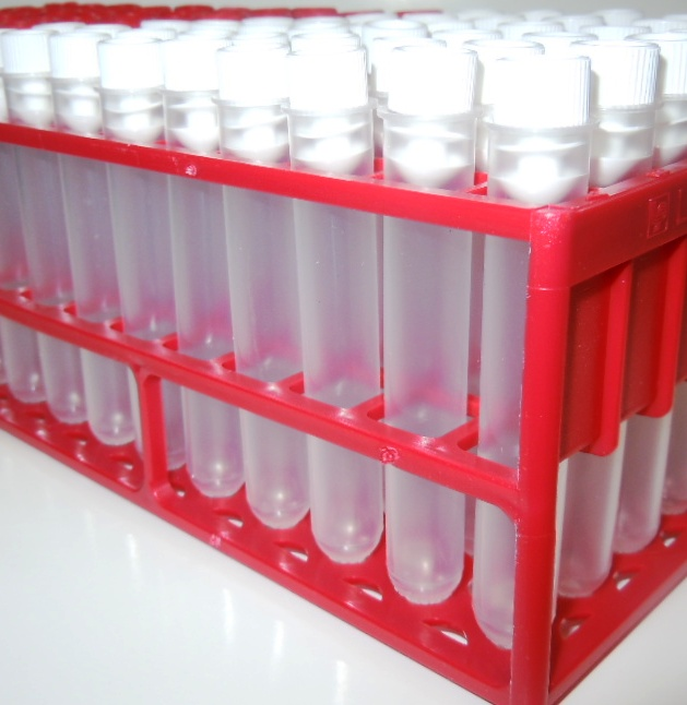 5ML PP Tubes with tops and tray , 90 x 13mm x 75mm Test tubes